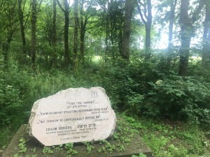 "A memorial plaque, inscribed with a quote in Hebrew (and its translation, ""my sorrow is continually before me,"" and dedicated Israeli president Chaim Herzog. is displayed surrounded by green foliage, with a background of trees, at Memorial Camp Westerbork"